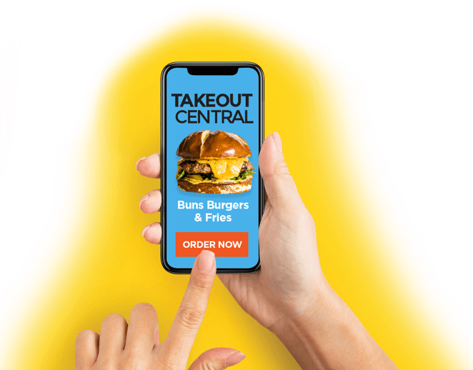 Someone using the Takeout Central app to order food
